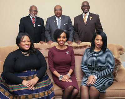 Standing: Curtis Kilpatrick, DIAC President; UNCF's Fred Mitchell, Anthony Brown, Vice President for Programs, UNCF's National Alumni Council. Seated: Honorees Edwina S. King, J.D.; Paula Thompson Ross, Ph.D. and LaShell Warner