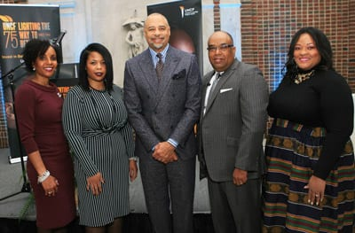 Honorees Paula Thompson Ross, Ph.D.; LaShell Warner and Edwina S. King, J.D. with Ed Gordon and Fred Mitchell