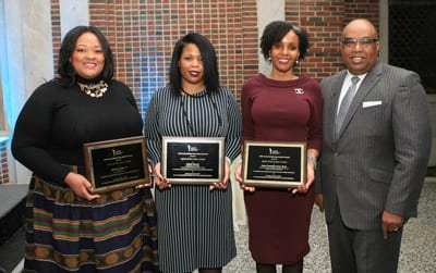Honorees Edwina S. King, J.D.; LaShell Warner,  and Paula Thompson Ross, Ph.D., with Fred Mitchell, UNCF Vice President, Mid-Atlantic/Midwest Division