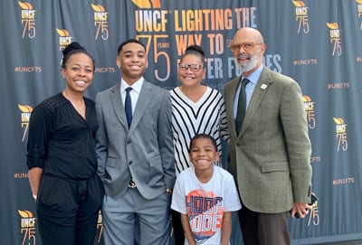 UNCF scholarship recipient Roque Lorenzo and family