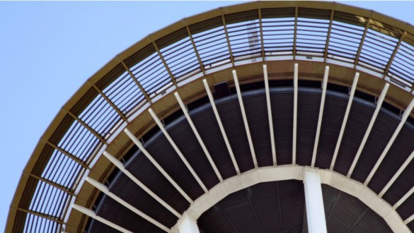 Part of the Seattle Space Needle from below looking up