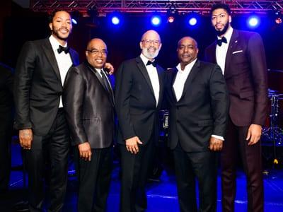 Derrick Rose (NBA Player-Minnesota Timberwolves); Fred Mitchell (VP-UNCF); Dr. Michael L. Lomax, (President & CEO-UNCF); Derrick Taylor (President, Black McDonald's Operators Association (BMOA)); Anthony Davis (NBA Player – New Orleans Pelicans)