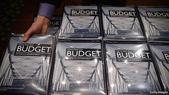 Picture of stacks of printed federal budget