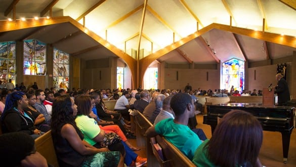 Chapel interior with students at a service at Jarvis Christian College