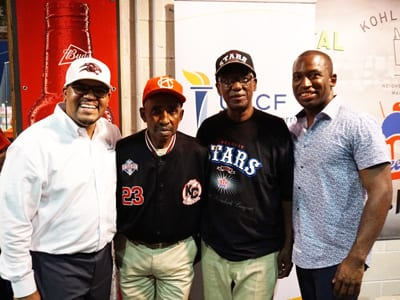 VUU president Dr. Hakim Lucas, Sam Allen, Ed Hudson and Mayor Levar Stoney