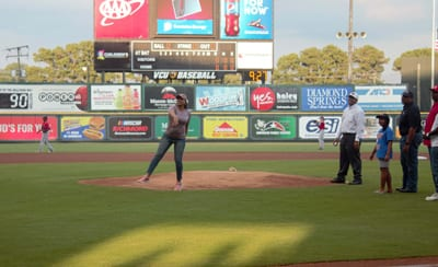 Alicia Turner throwing out the first ceremonial pitch, sponsored by VA Premier