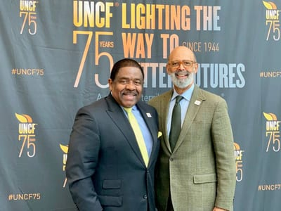 UNCF President Dr. Michael Lomax and Dr. Billy Hawkins, president of the oldest HBCU in Alabama, Talladega College