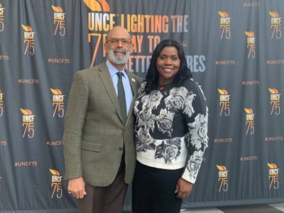 UNCF President Dr. Michael Lomax with Sharon Murphy, executive vice president and chief information officer for Wells Fargo