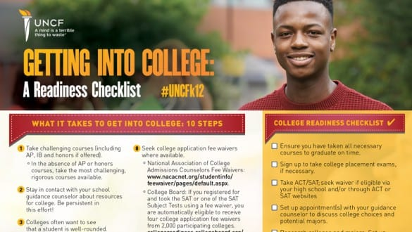 banner image of getting into college checklist one-pager