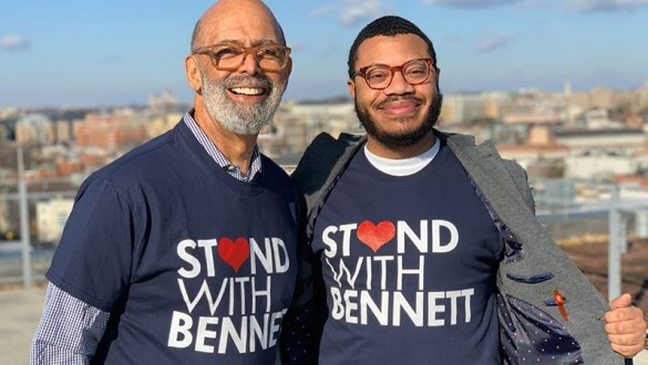 Michael Lomax and Lodriguez Murray wearing Stand with Bennett t-shirts